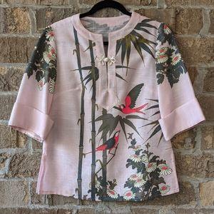 Vintage Handmade Hawaiian Shirt Pale Pink